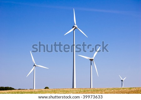 wind engines under blue sky