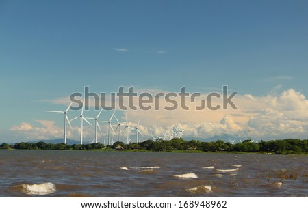 Wind Farm at Lake Nicaragua - stock photo