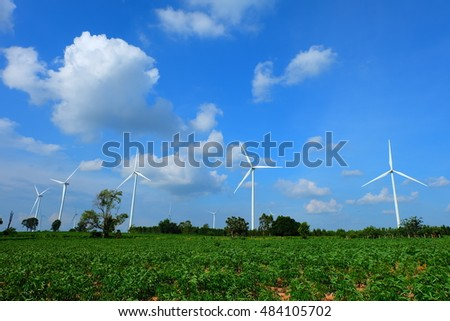 Wind farm clear sky