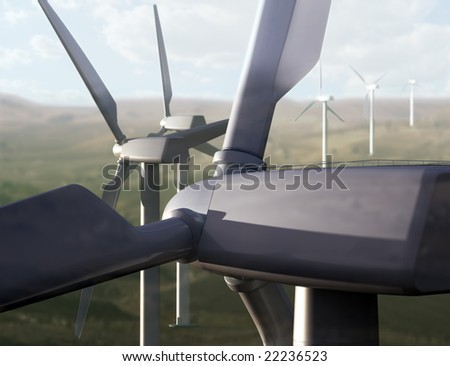 Wind farm in rural area. - stock photo