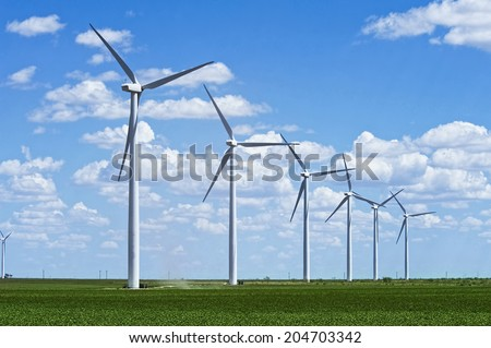 Wind farm in West Texas. - stock photo