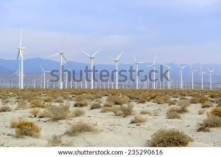 Wind farm near Palm Springs - stock photo