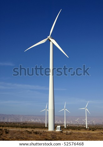 Wind farm near Palm Springs, California - stock photo