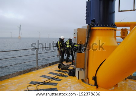 Wind farm Offshore - stock photo