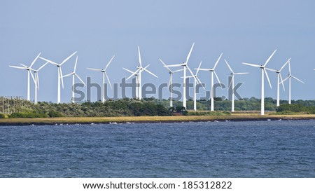 Wind farm on the Baltic Sea in Denmark - stock photo