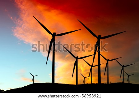 Wind farm silhouette - stock photo
