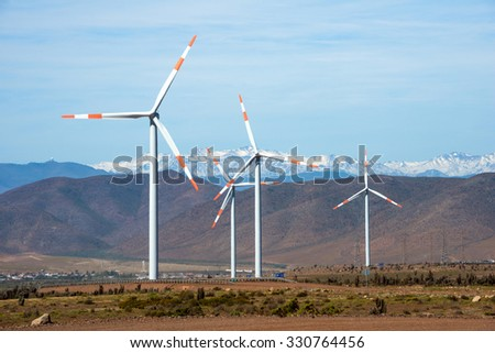 Wind farm (Spanish: parque eolico) in the mining regions of Atacama and Coquimbo, northern Chile - stock photo