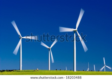 Wind farm turbines in green field over blue sky - stock photo