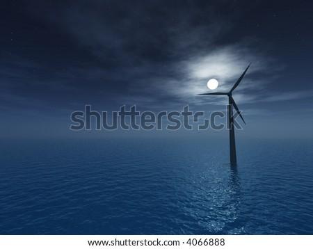 wind generator at night - 3d illustartion - stock photo