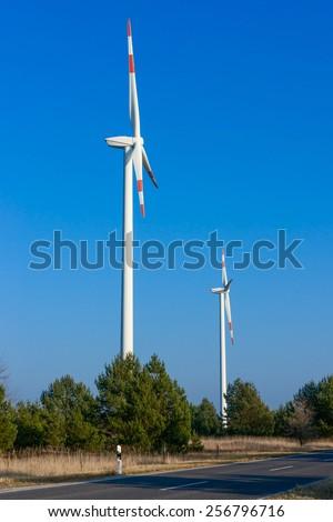 Wind generators, alternative energy, Ecology - stock photo