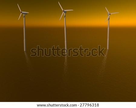 wind generators at the ocean - stock photo