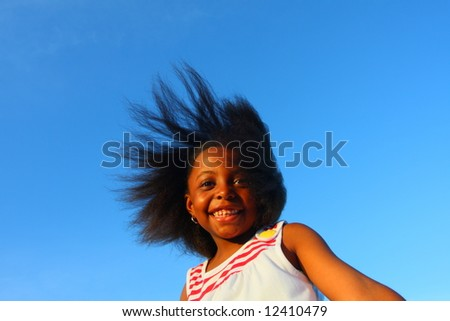 Wind in her hair - stock photo