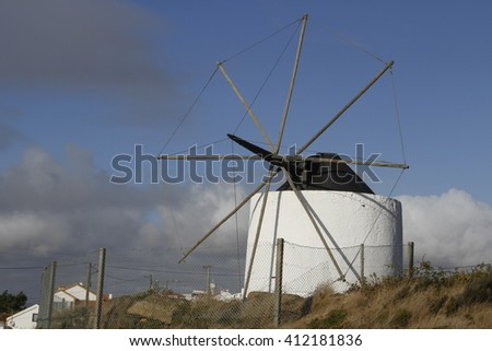 wind mill in Nazare (Portugal)