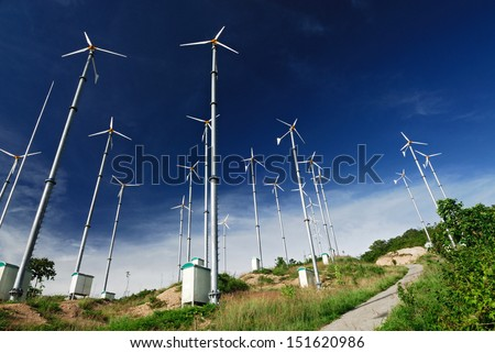 Wind mill power plant on Larn island,Pattaya city,Thailand  - stock photo
