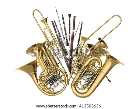 Wind musical instruments  on white 3D rendering - stock photo