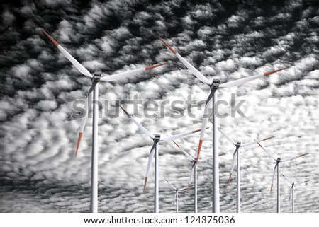 Wind power background - stock photo