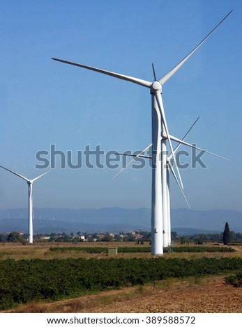 Wind power electricity source. Alternative energy source. - stock photo