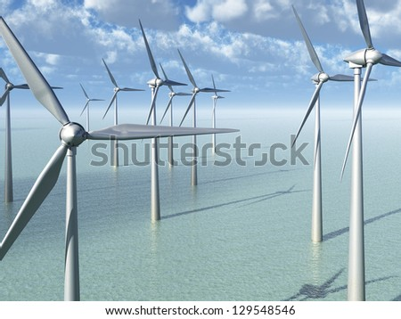 Wind Power Farm In The Ocean