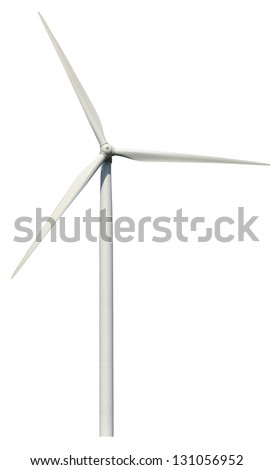 Wind power generator isolated on a white background - stock photo