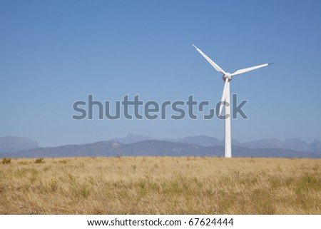 Wind power generators on a wind farm in the Western Cape, South Africa.