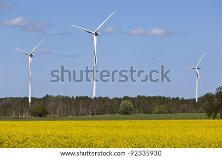 Wind power in the countryside - stock photo