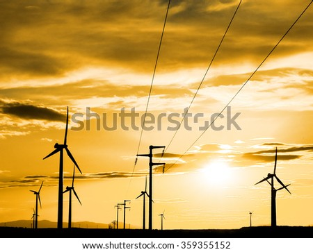 Wind power plant in Spain, during the sunset