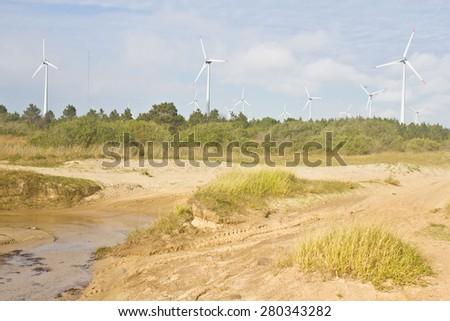 Wind power plant - Tramandai - Rio Grande do Sul - Brazil - stock photo