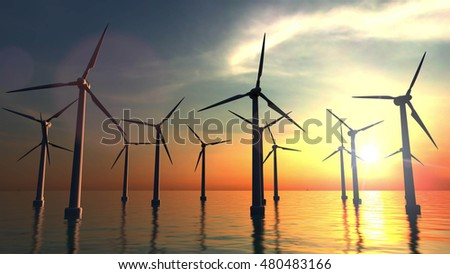 Wind power turbines at sea sunset. 3D rendering