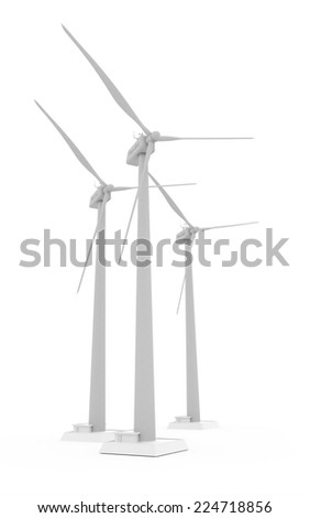 Wind propeller turbines rendered on white background isolated  - stock photo