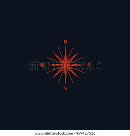 Wind rose icon. Cartography symbol. Flat illustration. - stock photo