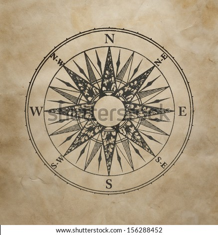 Wind rose on the old grunge paper - stock photo