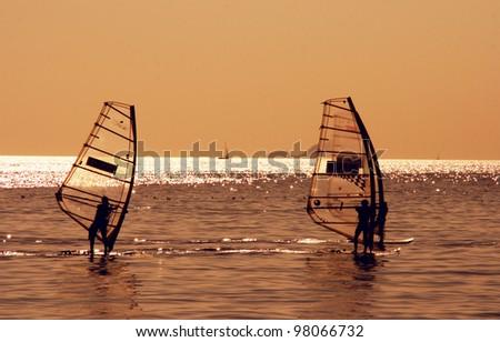 Wind surfers in sea of Marmara, Istanbul, Turkey - stock photo
