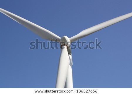 Wind Turbine against a blue sky (Lanzarote Canary Islands) - stock photo