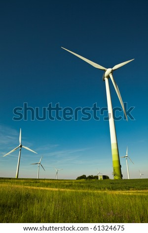 Wind Turbine - alternative and green energy source - stock photo