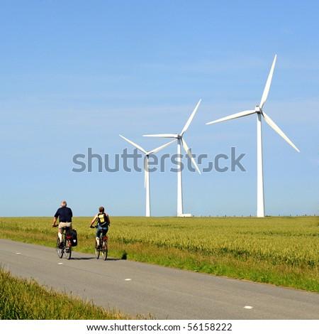 wind turbine and bike - stock photo