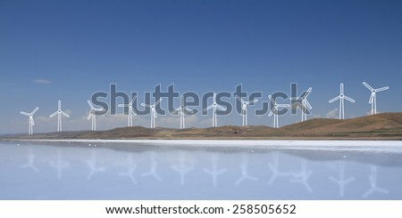 Wind turbine and clean energy concepts. - stock photo