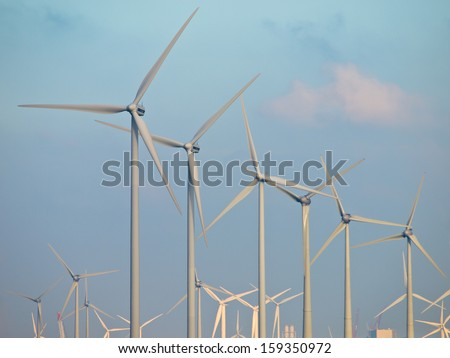 Wind turbine Blades Galore Detail of a Wind farm Background - stock photo