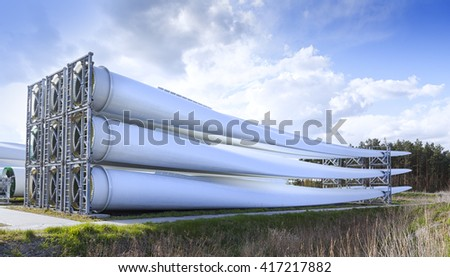 Wind turbine blades generating electricity - stock photo