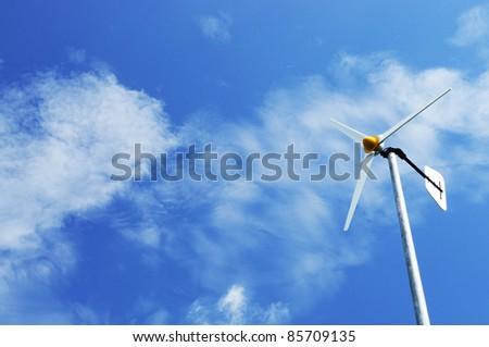 wind turbine blue sky - stock photo