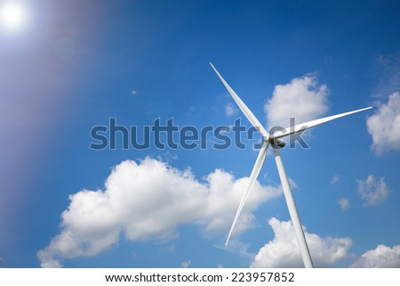 Wind Turbine Farm with Sunlight