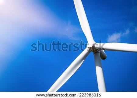 Wind Turbine Farm with Sunlight - stock photo