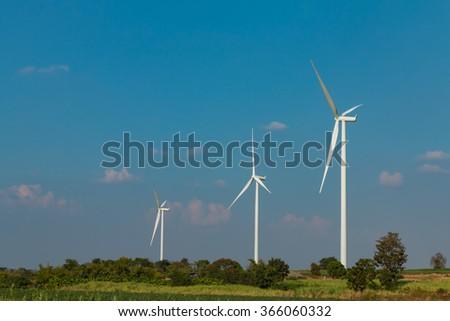 Wind turbine fields. Wind turbines generating electricity. Wind turbine fields in Thailand. - stock photo