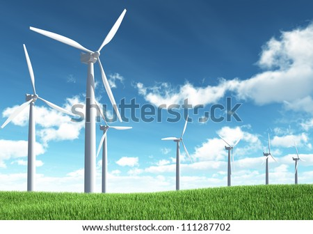 Wind Turbine for alternative energy on background sky - stock photo
