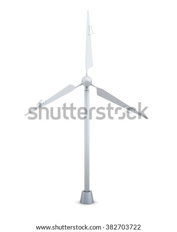 Wind turbine front view on a white background. 3d rendering.