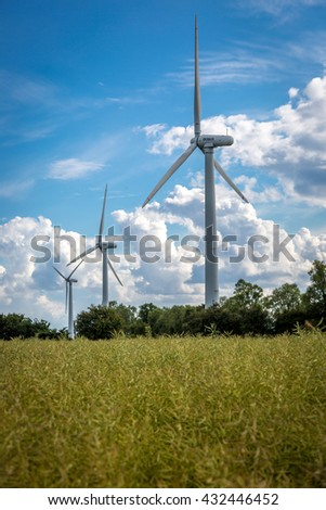 Wind turbine in a large green field and blue sky