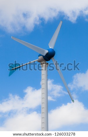 Wind Turbine in cloudy sky