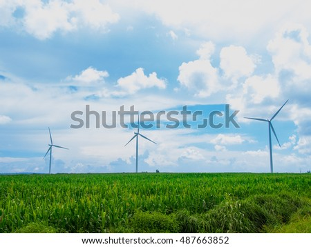 wind turbine in corn farm and sky