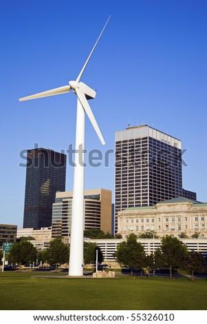 Wind turbine in downtown Cleveland, Ohio. - stock photo