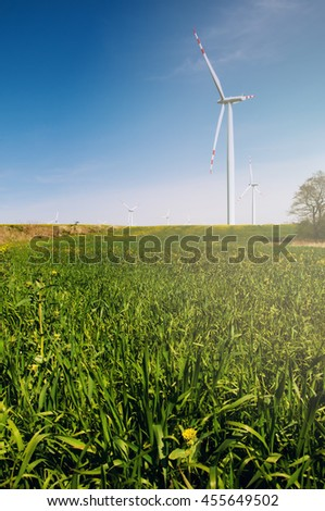 Wind turbine in rape field