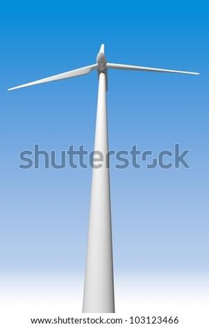 Wind turbine in the blue sky - stock photo